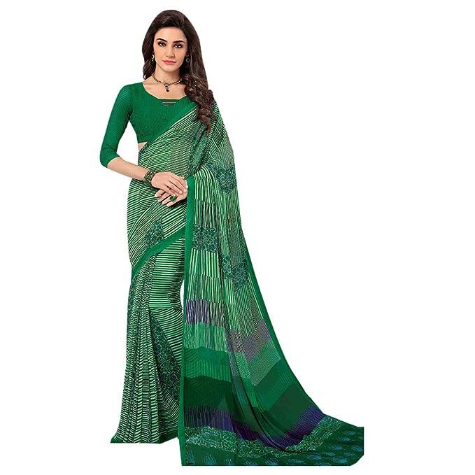 Indio Tradicional Informal Sari Mujeres Vestido de Sari 100% Originales niñas Traje Estampado Georgette Mujer