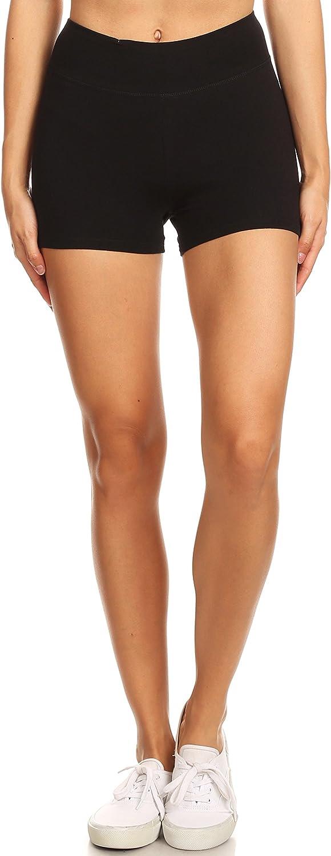 2ND DATE Women's Basic Cotton Stretch Shorts Leggings