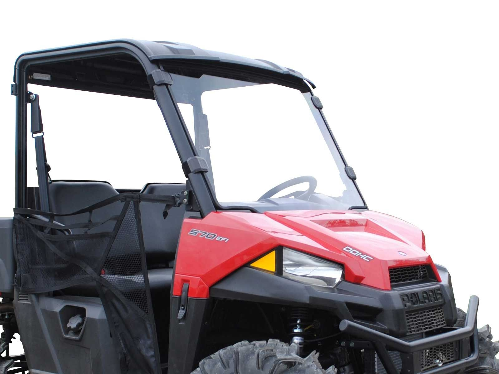 SuperATV Heavy Duty Scratch Resistant Full Windshield for Polaris Ranger Midsize 500/500 Crew / 570 / ETX/EV (See Fitment for Compatible Years) - Installs in 5 Minutes!