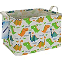 RUNRONG Rectangle Storage Basket Foldable Waterproof Canvas Shelf Storage Box with Handles Nursery Organizer for Bedroom…