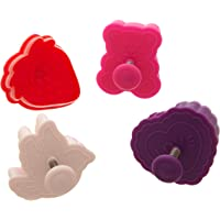 Ateco Valentine Themed Plunger Cutters, Set of 4 Shapes for Cutting Decorations & Direct Embossing, Spring-loaded Handle, Food Safe Plastic