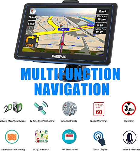 GPS Navigation for Car, 7-inch LCD Screen Universal Truck Car Satellite Navigation, North America, Central America,Free Lifetime Map Update, Speed Alert, Voice Turn Indication GPS Navigation System