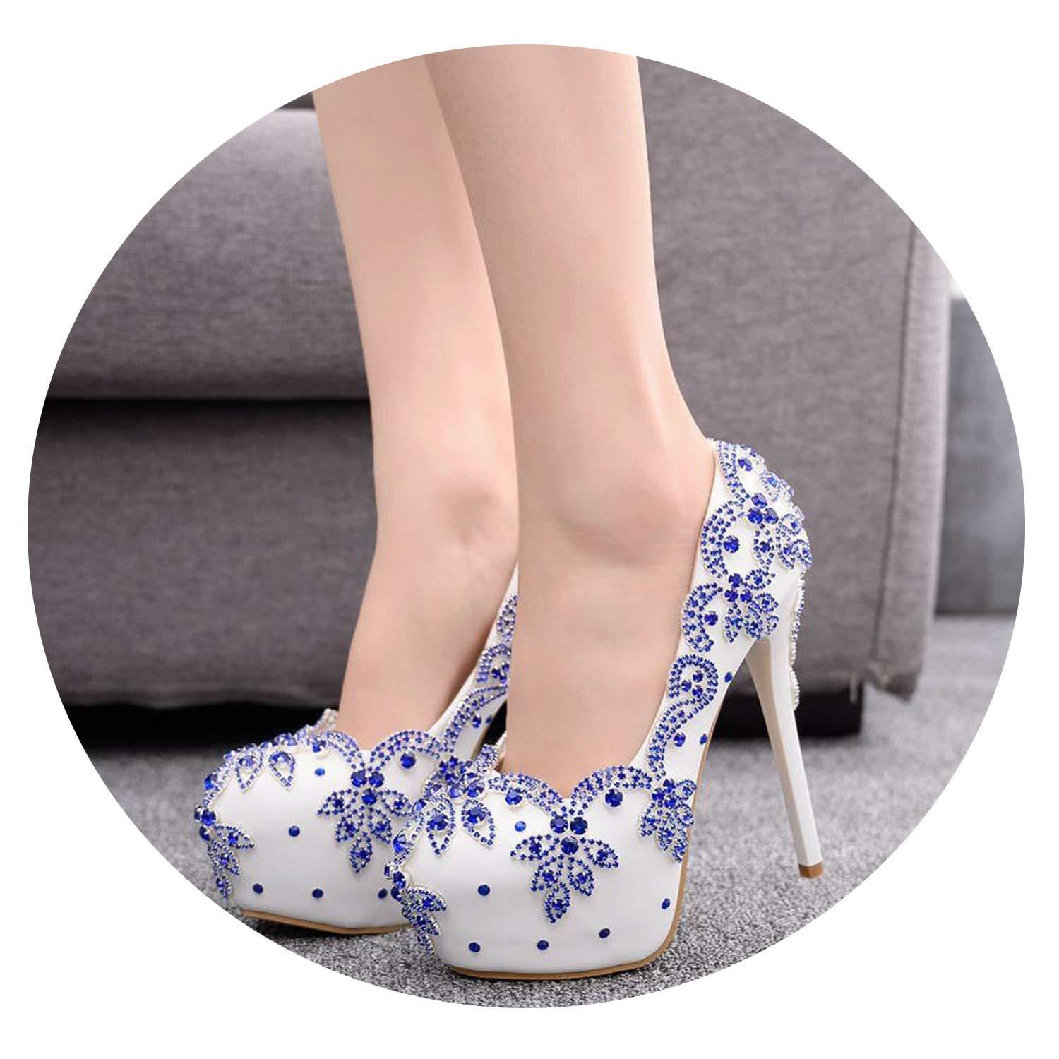 bluee colorful Dream- Sexy 14Cm Super High Heel Single Stiletto High Heels Temperament Elegant Rhinestone Wedding shoes