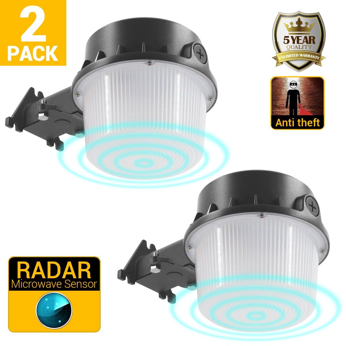 Outdoor Yard Light, Security Microwave Radar Motion Sensor, 35W Barn Light for Area Lighting, 5000K, 3700lm Floodlight ETL/cETL Approved Pack of 2