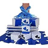 (5x5x5cm) 100 pz Scatole Portaconfetti di Carta incluso Nastrino Bomboniere Regalo Segnaposti Decorazioni per Festa Matrimonio Battesimo (Blu Scuro)