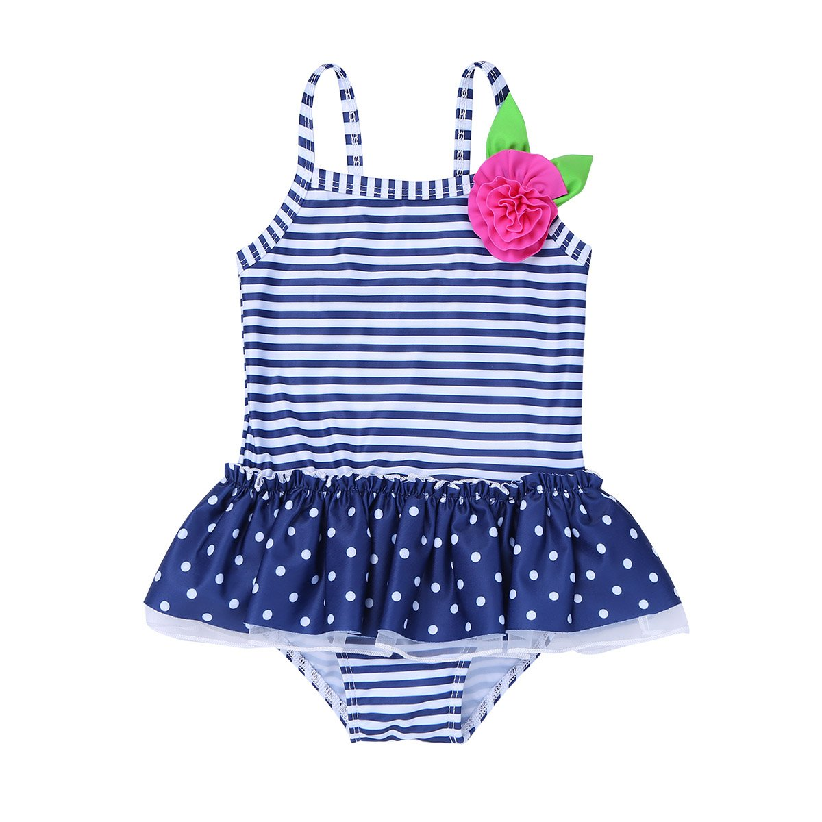 iEFiEL Infant Baby Girls One-Piece Striped Polka Dots Swimsuit Swimwear Bathing Suit