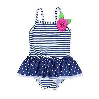 33918a6428da0 YiZYiF Baby Kinder Mädchen Bikini Einteiler Badeanzug Streifen Bade Kleid  Schwimmanzug 62 68 80 86 92