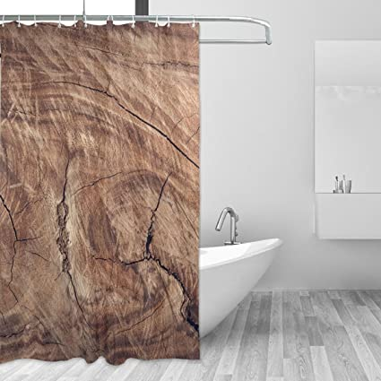 Cute Duramen Surface Texture Wood Shower Curtain Soft Fabric Single Sided Printing Waterproof Bath