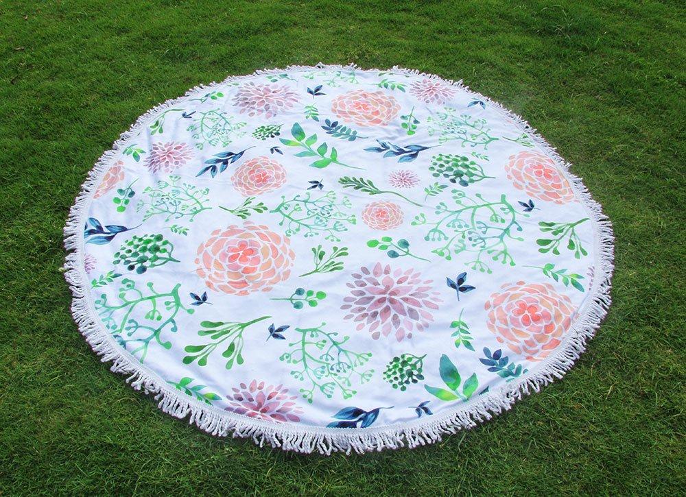 winthome con flecos diseño de toalla de playa (especial redondo Mandala playa manta - Toallas de playa, doble manta de Picnic tamaño grande de playa mantas ...