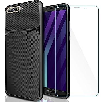 AROYI Funda Huawei Y6 2018 + Cristal Templado, Carcasa Huawei Y6 2018 Carcasa & 1 Pack Protector de Pantalla Cristal Templado 9H Dureza + Soft TPU ...