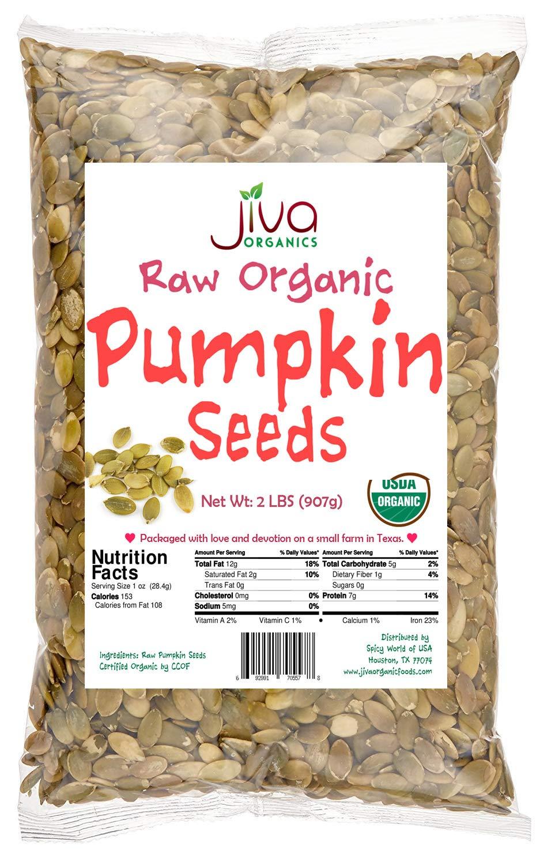 Jiva Organics Organic Pepitas / Pumpkin Seeds (Raw, Sproutable) - 2 Pound Bag by Jiva Organics