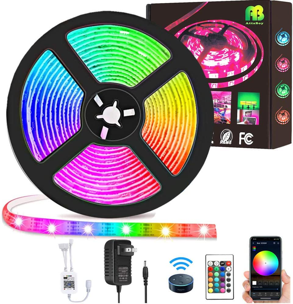 LED Strip Lights Kit 16.4ft(5M), Waterpoof Smart WiFi Wireless Phone Controlled Light Strip Kit 5050 RGB Works with Google Assistant and Alexa,for TV,Bedroom,Party and Home Decoration