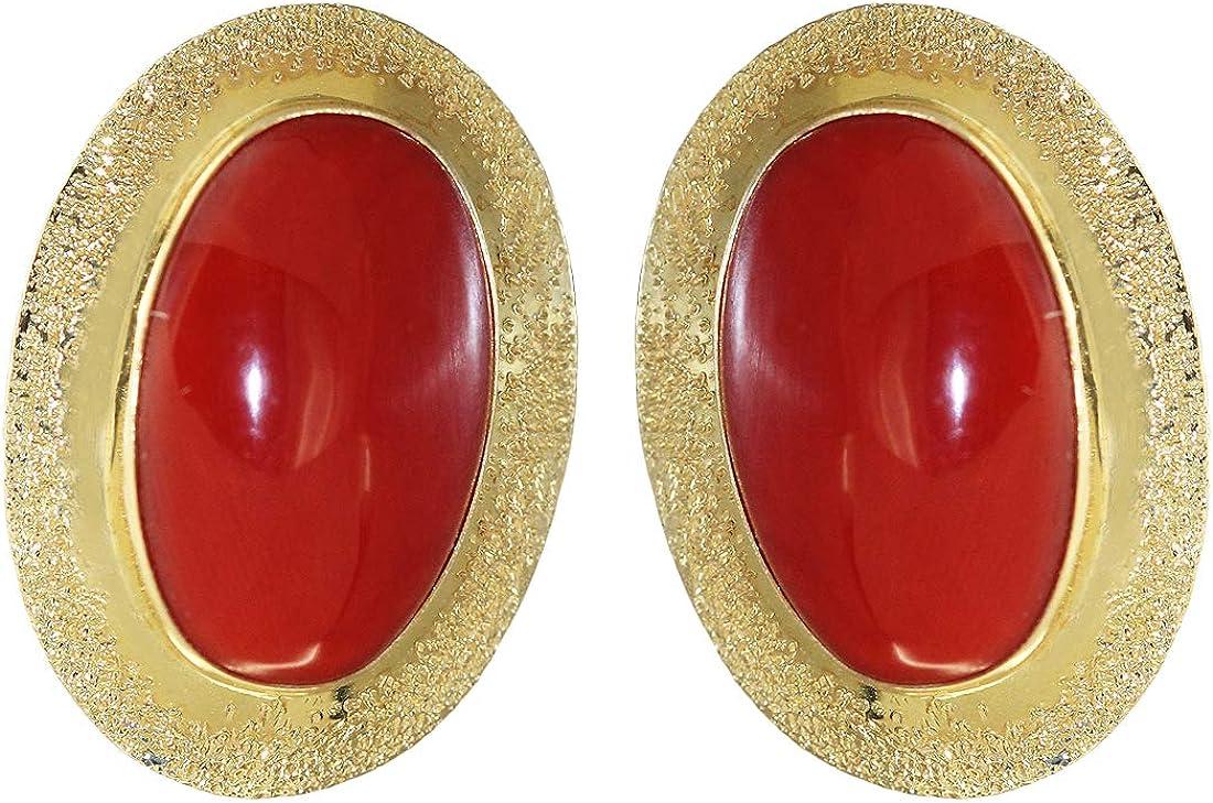 Hobra-Gold - Pendientes de oro 750 con grandes corales ovalados