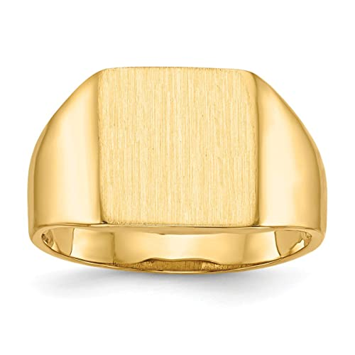 e370e43008e7 Roy rosa joyas oro amarillo de 14 K parte trasera abierta para hombre parte  superior cuadrada ...