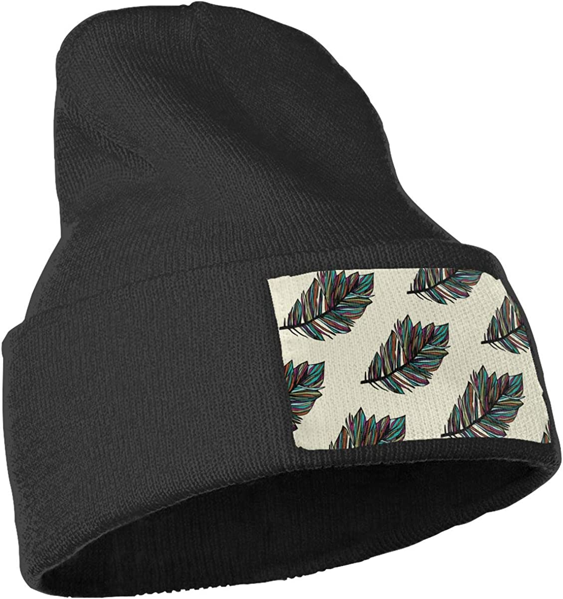 PCaag7v Feather Beanie Hat Winter Solid Warm Knit Unisex Ski Skull Cap