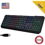 KLIM™ Chroma Gaming Keyboard QWERTY US Wired USB - High Performance - New Version - Chromatic Lighting Gaming Black RGB PC PS4 Windows Mac