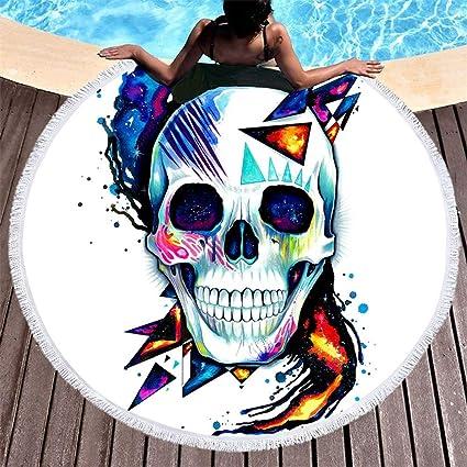 Amazon.com: RKR Shop Fire Skull Large Round Beach Towel ...