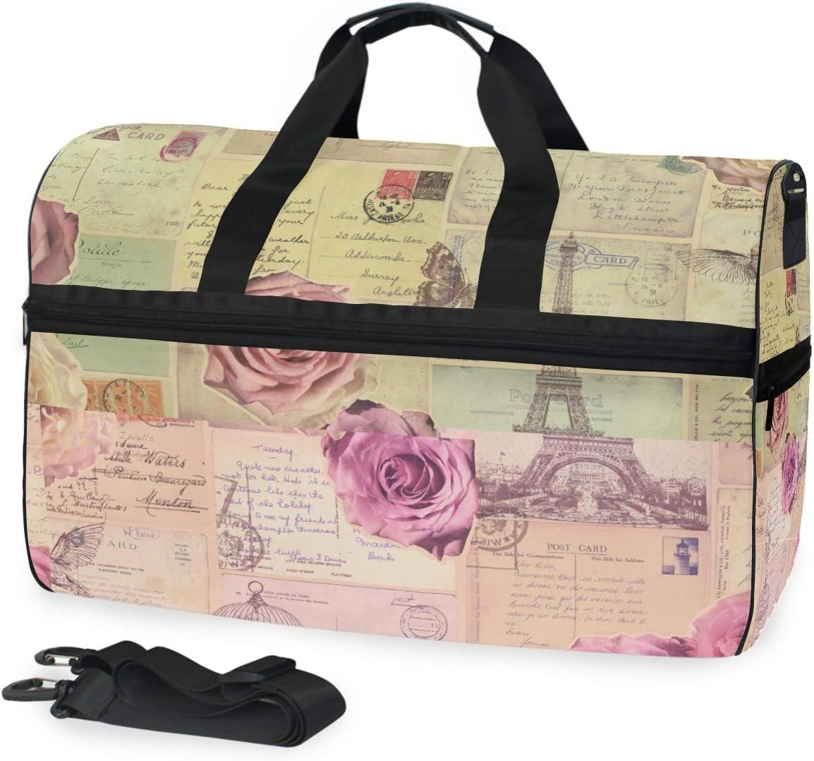 MALPLENA Vintage Paris Post Card Pattern Packable Duffle Bag For Men Women Tear Resistant Sports Duffle