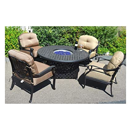 Enjoyable Amazon Com Propane Fire Pit Table Set Elisabeth 5Pc Deep Squirreltailoven Fun Painted Chair Ideas Images Squirreltailovenorg