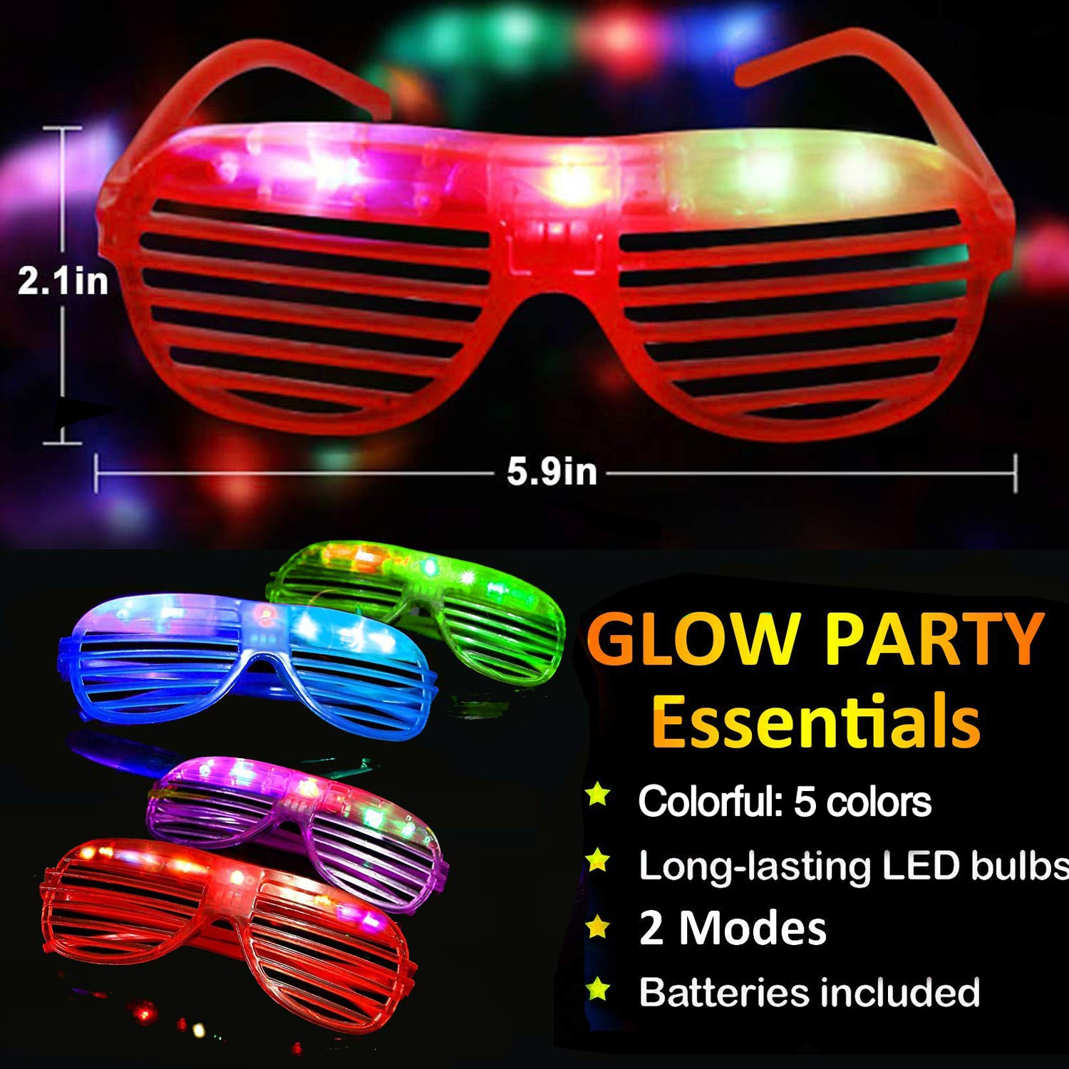 20 Pack Party Favors LED Light Up Glasses Glow in The Dark Party Supplies Toys Flashing Glasses Neon Shutter DJ SunGlasses Parties Decorations Holiday Birthday Gifts for Adult Kids by CHARMCZ (Image #1)