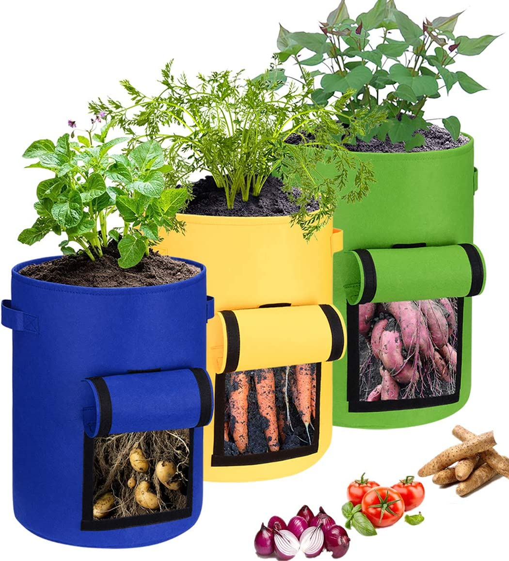 Soft Power 3 Pack 10 Gallon Garden Boxes:Heavy Duty Thickened Vegetable Grow Pots,Garden Planting Grow Bags for Potato Tomato and Other Vegetables,Heavy Duty Thickened Vegetable Grow Pots
