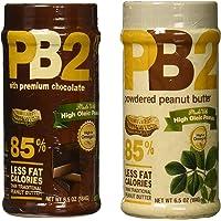 PB2 Polvo de Cacahuate Mantequilla y PB2 con Chocolate, 2x-184g, bajo en grasa y bajo en calorías
