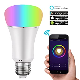 cleno casa Smart bombilla LED, Wi-Fi, de bombillas LED, LED de intensidad regulable multicolor bombilla ...