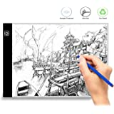 Wivarra A4 Display Pad Drawing Board LED Light Box, Ultra-Thin LED Drawing Copy Tracing Light Box with Brightness Adjustable Tattoo Sketch Architecture Calligraphy Crafts for Artists,Drawing