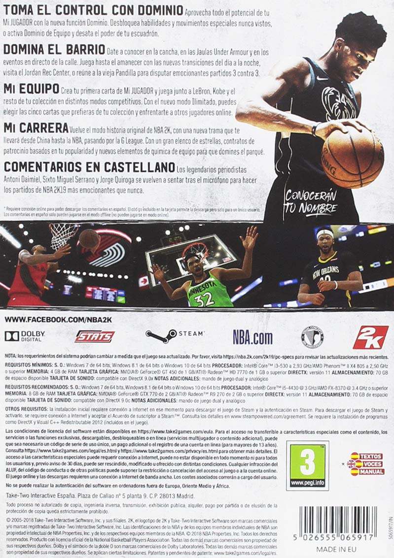 NBA 2K19 - Edición Estándar (Código Digital): windows: Amazon.es ...