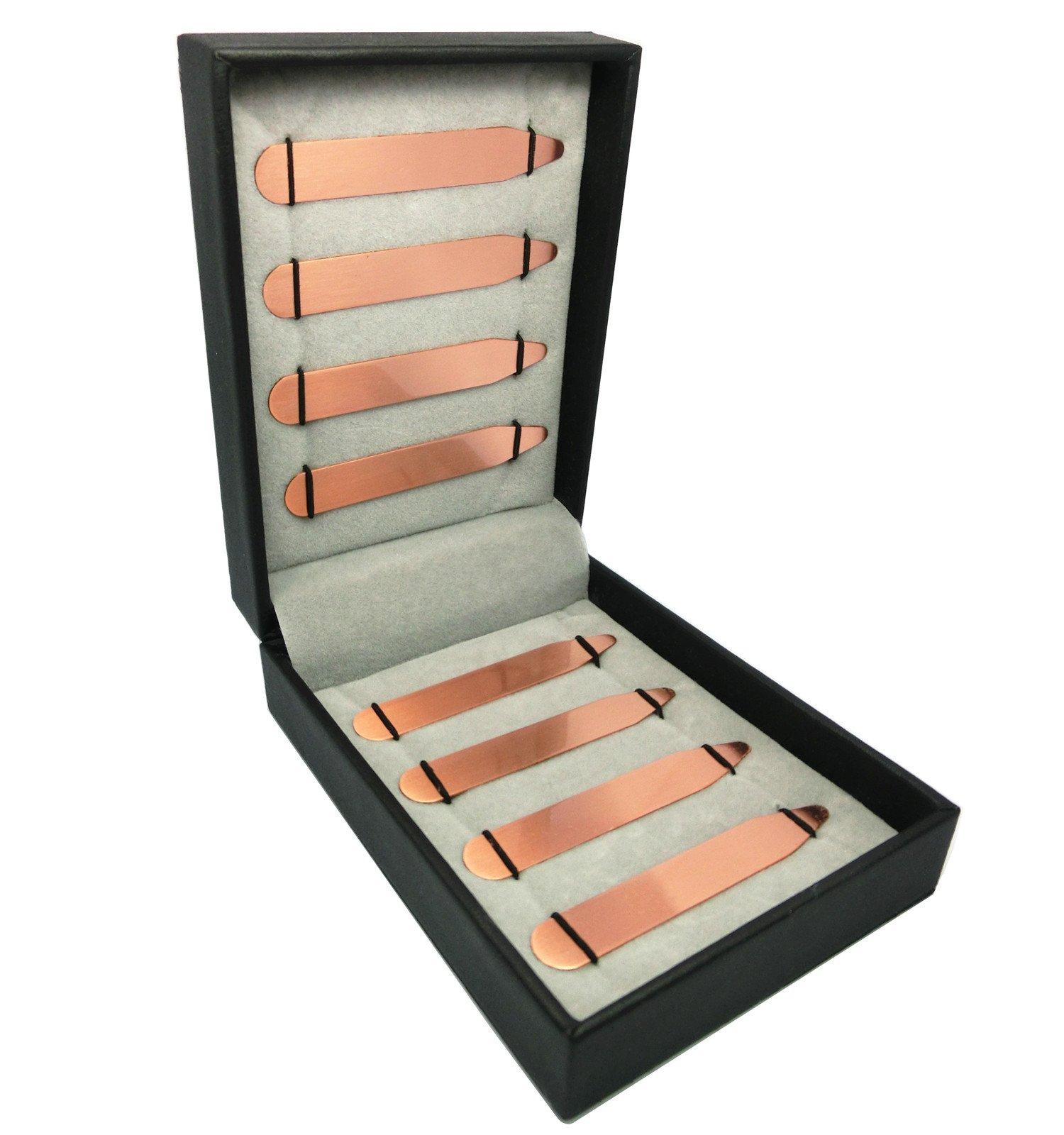 Shang Zun 8 pcs Red Brass Collar Stays in Gift Box, 2.5''