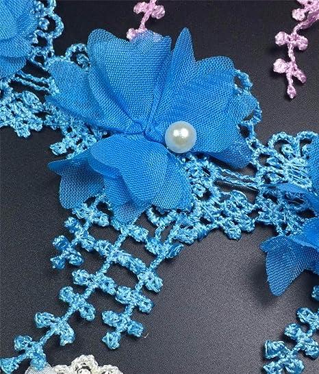 Yalulu 2 Yards 3D Chiffon Polyester Fabric Flowers Lace Trim Roses ...