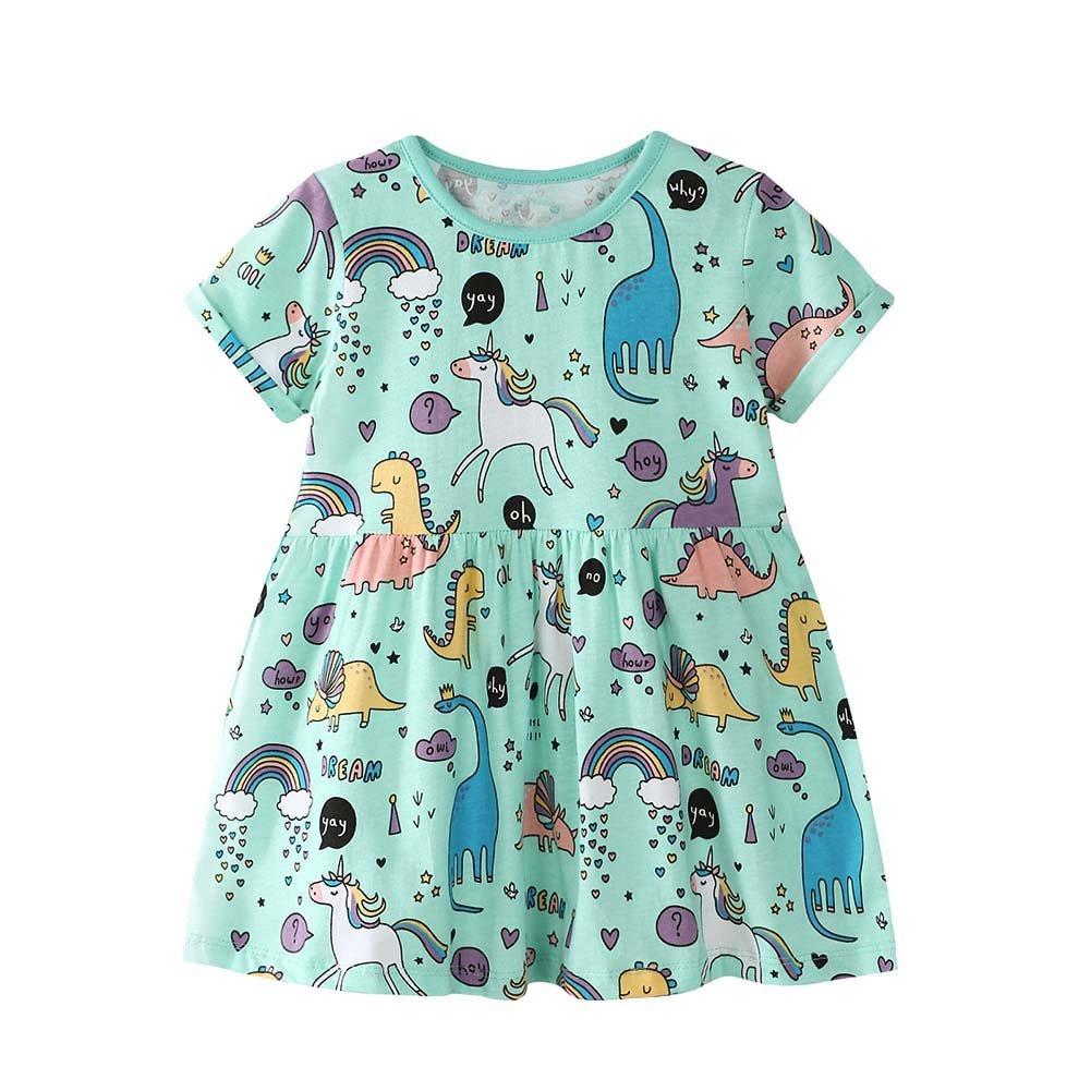 Baorong Summer Little Girl Cotton Casual Short Sleeve Cartoon Print Dresses L