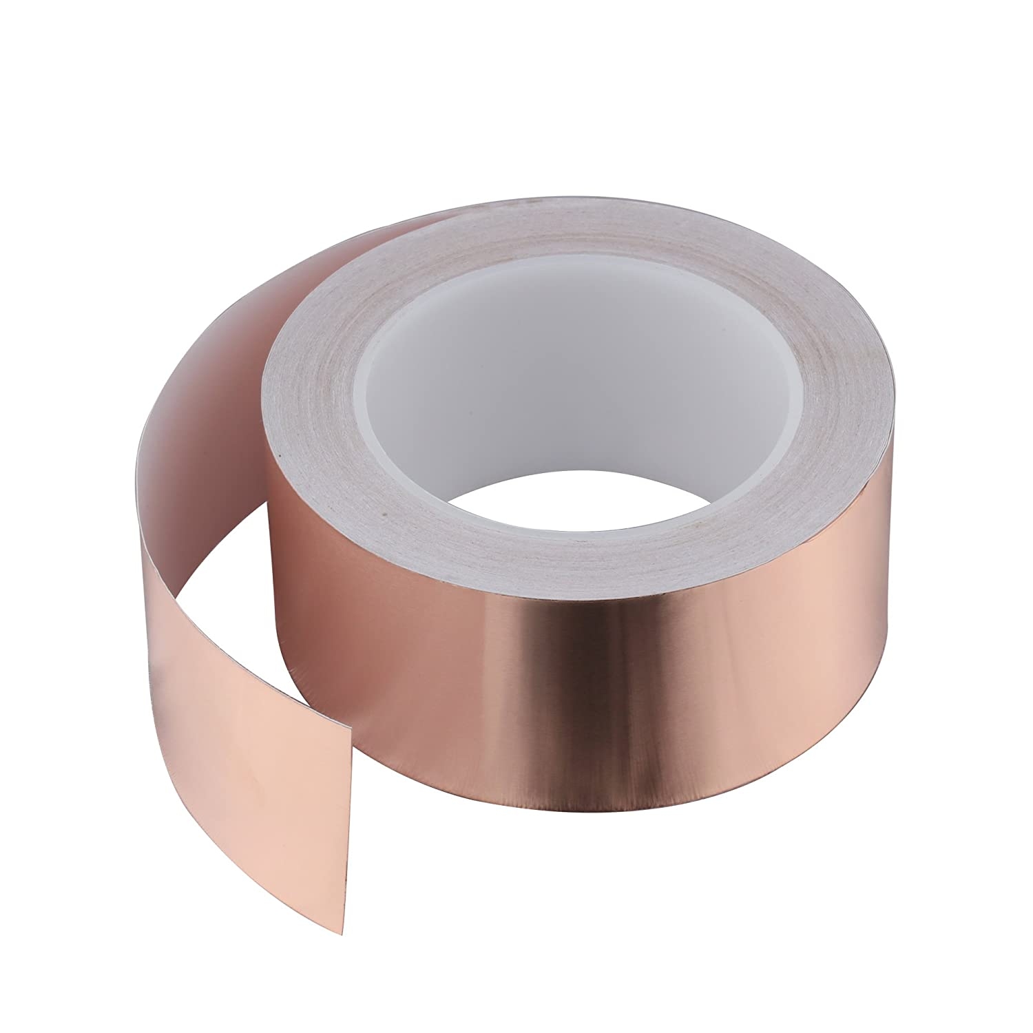 SYCEES 25M x 50mm EMI Kapton Tape Self Adhesive Extra Long Copper Foil band Tape EMC Shielding Tape for Electrial Repair Decoration Plants Protection from Snails Screw Guard
