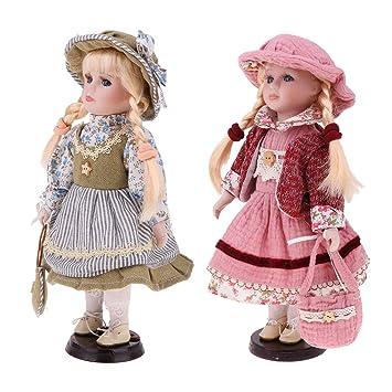 Amazon.es: MagiDeal 2 Pedazos Modelismo Muñecas Niñas Victorianas ...