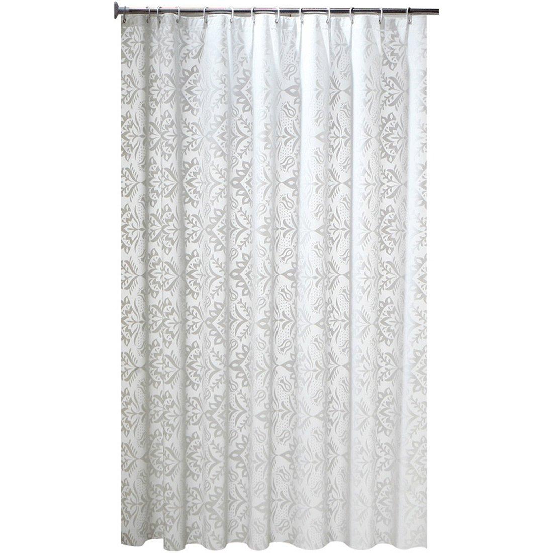 Mangetal - Tenda da doccia in PEVA, impermeabile, motivo floreale, PEVA, bianco, 80x180cm