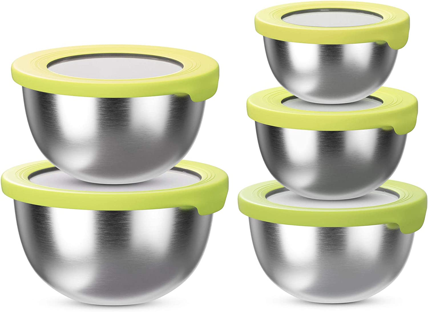 BLNKD Stainless Steel Mixing Bowl with Lids (Set of 5) – Kitchen Nesting Bowl for Serving, Salad, Marinating, Dough, Cooking, Baking & Food Storage –Colorful Lids– Stackable & Space Saving, Yellow…