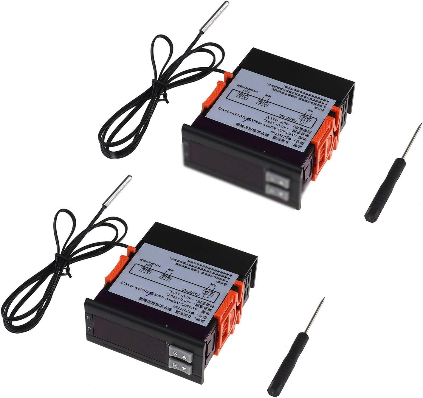 Noir et Rouge ENET 2X 220V 10A Contr/ôleur de Temp/érature Thermostat /Électronique Num/érique LCD avec Ligne de Sonde de Temp/érature et Tournevis /à T/ête Plate