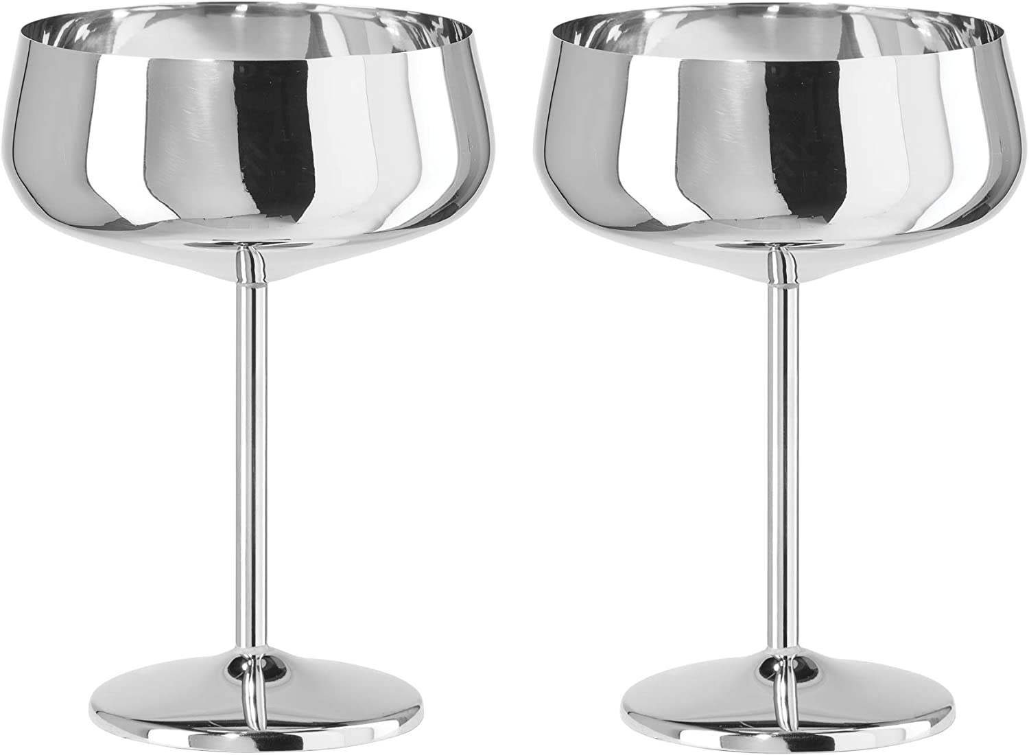 16 Ounce Oggi Stainless Steel Coupe Cocktail Goblets s//2-16 oz Silver