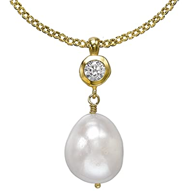 Dower & Hall Pearlicious Sterling Silver 14mm Baroque Pearl Chain Necklace of 46cm lDz7r