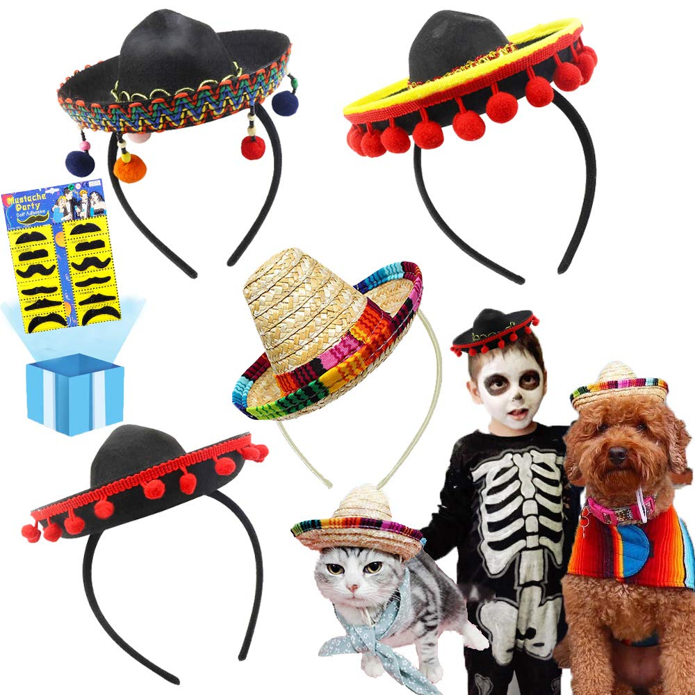 Cinco De Mayo 4 Pcs Small Fiesta Sequined Fabric and Straw Sombrero Headbands Party Costume for Mexican Theme Party,Fun Fiesta Taco Party Supplies, Luau Party Photo Props, Dia De Muertos, Coco Birthday Party Decor, Carnival Party Supplies by QIQU