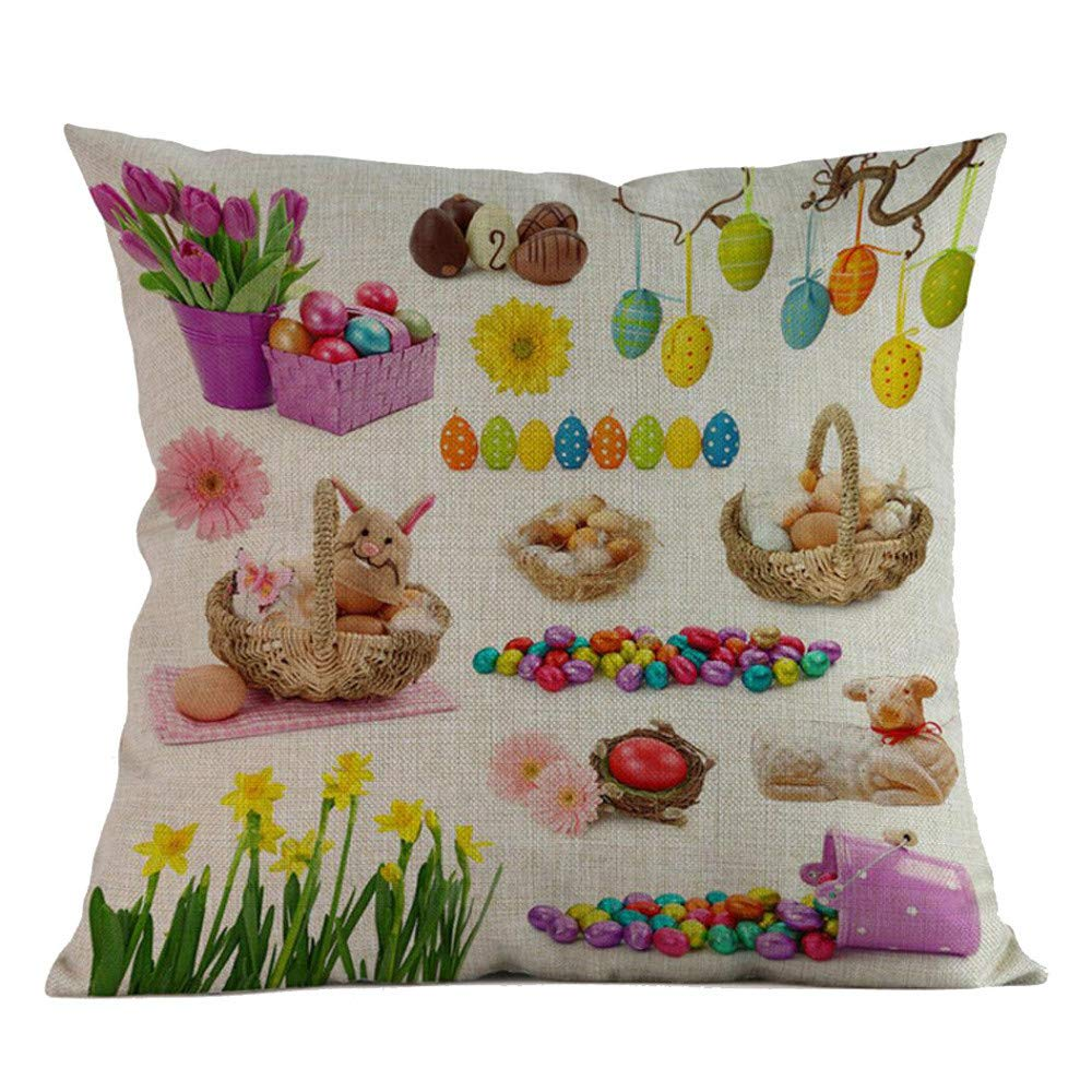 Throw Pillow Covers 18X18 Colored Egg Happy Easter Pillow Case Square Flax Pillowcase Sofa Waist Throw Cushion Cover Home Decor Square Flax Decorative Pillow Case for Holiday Decor (D)