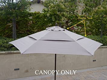 Double Vented 9ft Umbrella Replacement Canopy 6 Ribs in Taupe (Canopy Only) : umbrella replacement canopy 8 ribs - memphite.com
