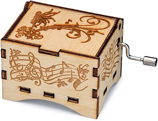 Birch Wood with Hand Crank Movement Damask Music Box You Are My Sunshine