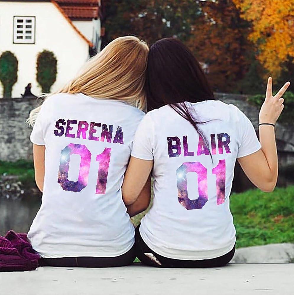 Mejores Amigas Camiseta Best Friends Shirts 2 Piezas con Impresión de Colores Camisa Manga Corta para Mujer Hermanas(Blanco 02, Serena-2XL+Blair-2XL): Amazon.es: Ropa y accesorios