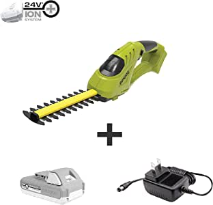 Sun Joe 24V-SSEG-LTE 24-Volt Cordless Handheld Shear Shrubber + Trimmer/Edger, Kit (w/ 2.0 Ah Battery + Quick Charger)