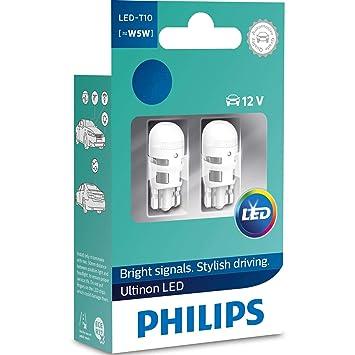 Philips W5W T10 4000K LED 12V Blanco Cálido Coche Interior Bombillas W2,1x9,5d LP 11961ULW4X2 (Vino): Amazon.es: Coche y moto