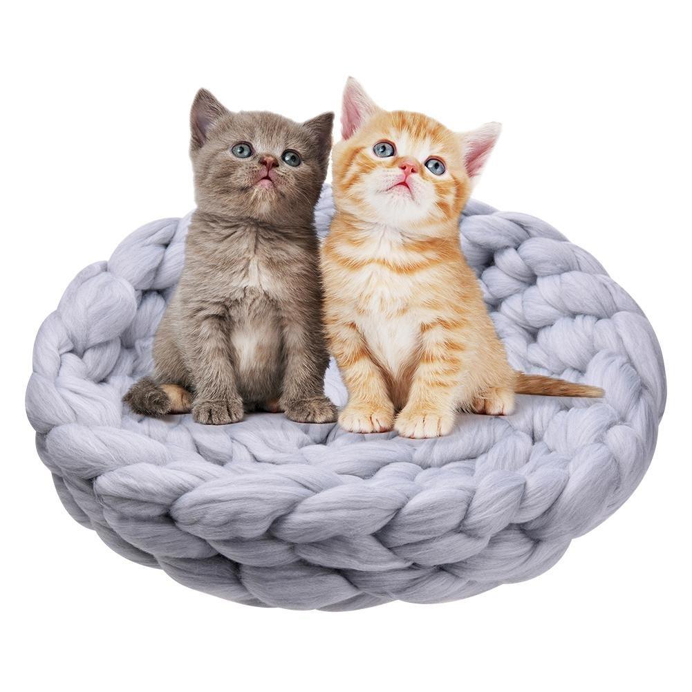 soundwinds Lit Panier Chat Sac de Couchage en Laine Les Chats Panier de Chat tricoté à la Main Litière Chat Panier Lit Chien Chat Nid de Chat fabriqué en Tricot