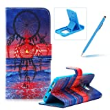For Samsung Galaxy S6 Edge Plus Magnetic Closure Flip Portable Carrying Case,Book Style Pu Leather Foldable Stand Wallet Full Body Pouch Smart Case with Card Slots For Samsung Galaxy S6 Edge Plus,Herzzer Fashion Premium High Quality [Sunset Dreamcatcher Pattern] Folio Protective Case Cover with Soft TPU Inner Protector Back Case For Samsung Galaxy S6 Edge Plus + 1 x Blue Cellphone Kickstand + 1 x Blue Stylus Pen