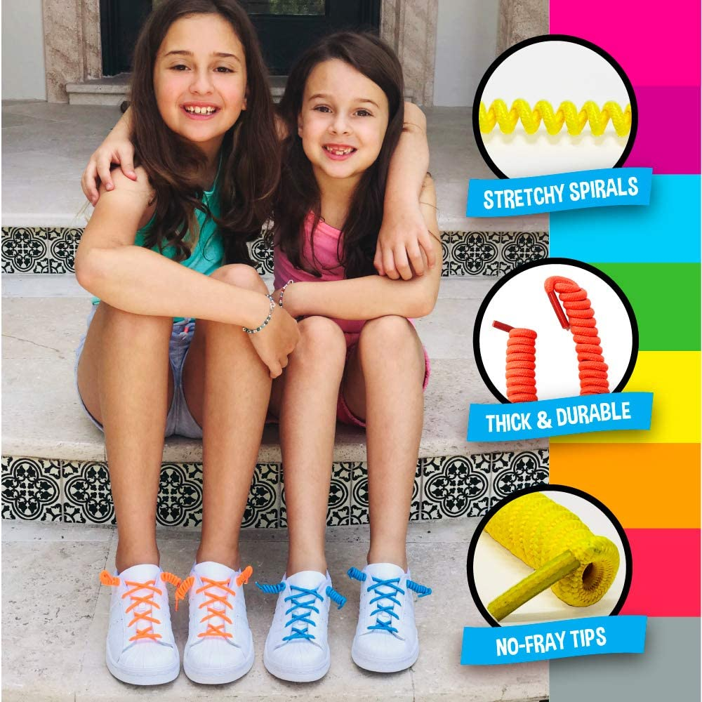 Silly Feet No Tie Shoelaces Kids Shoe Laces Curly Twisty Elastic Shoe Strings...