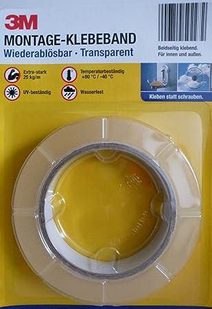 2x 3m Montage Klebeband Wiederablösbar Transparent Extrastark